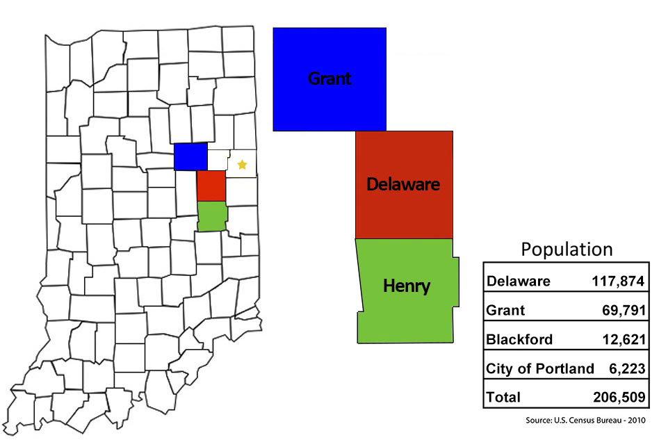 Map of Indiana and counties that ECIRPD represent